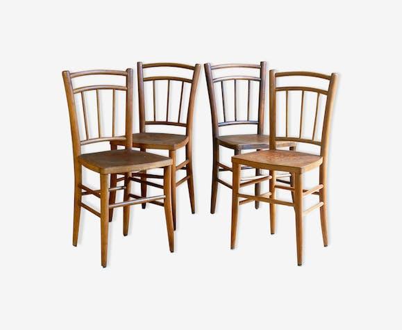 Lot de 4 chaises bistrot campagne années 40