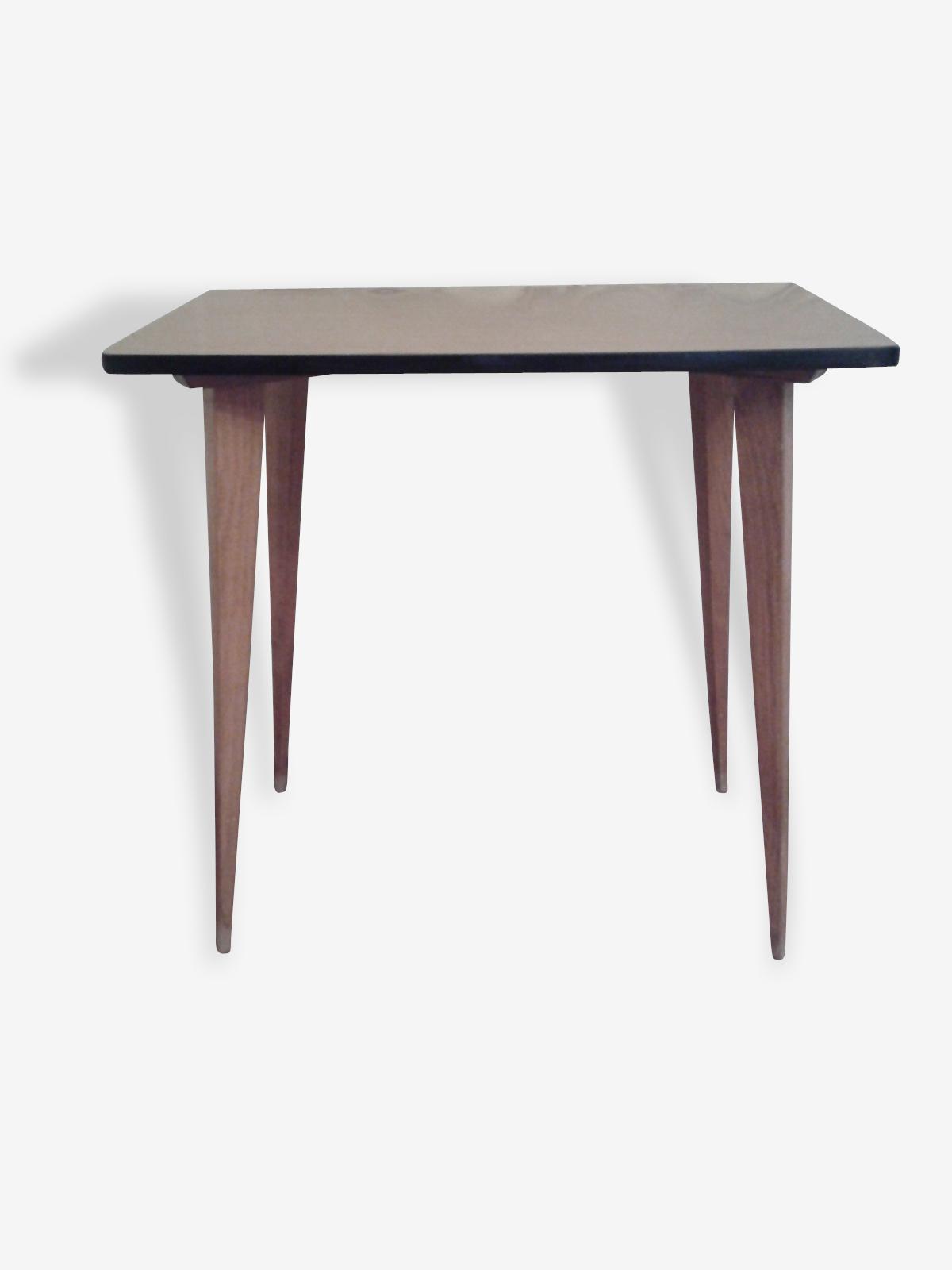 Table en formica marron années 50