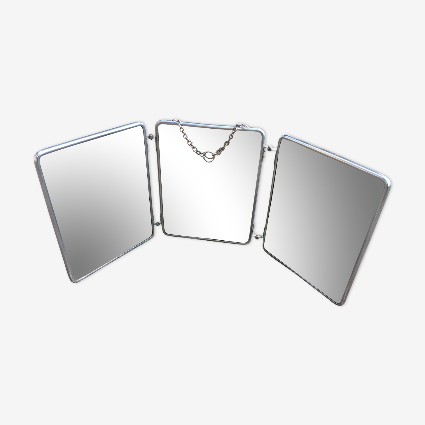 Former Barber triptych mirror with chain 60 years 18x24cm