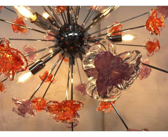 Lustre fleurs Spoutnik en verre de Murano