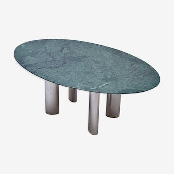 Large dining table with green marble top and chromed metal legs