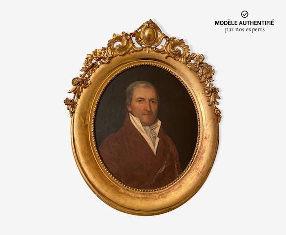 Tableau portrait à l'huile ancien famille bourgeoise