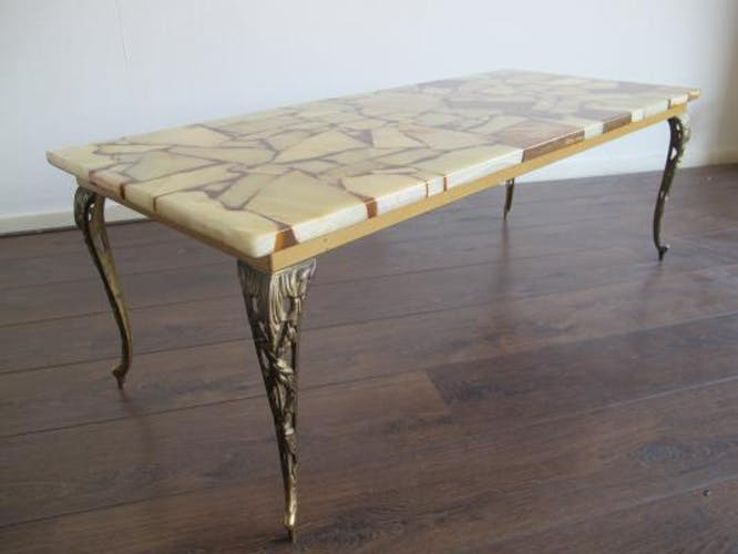 Table Basse Mid-Century en Laiton, Marbre & Résine