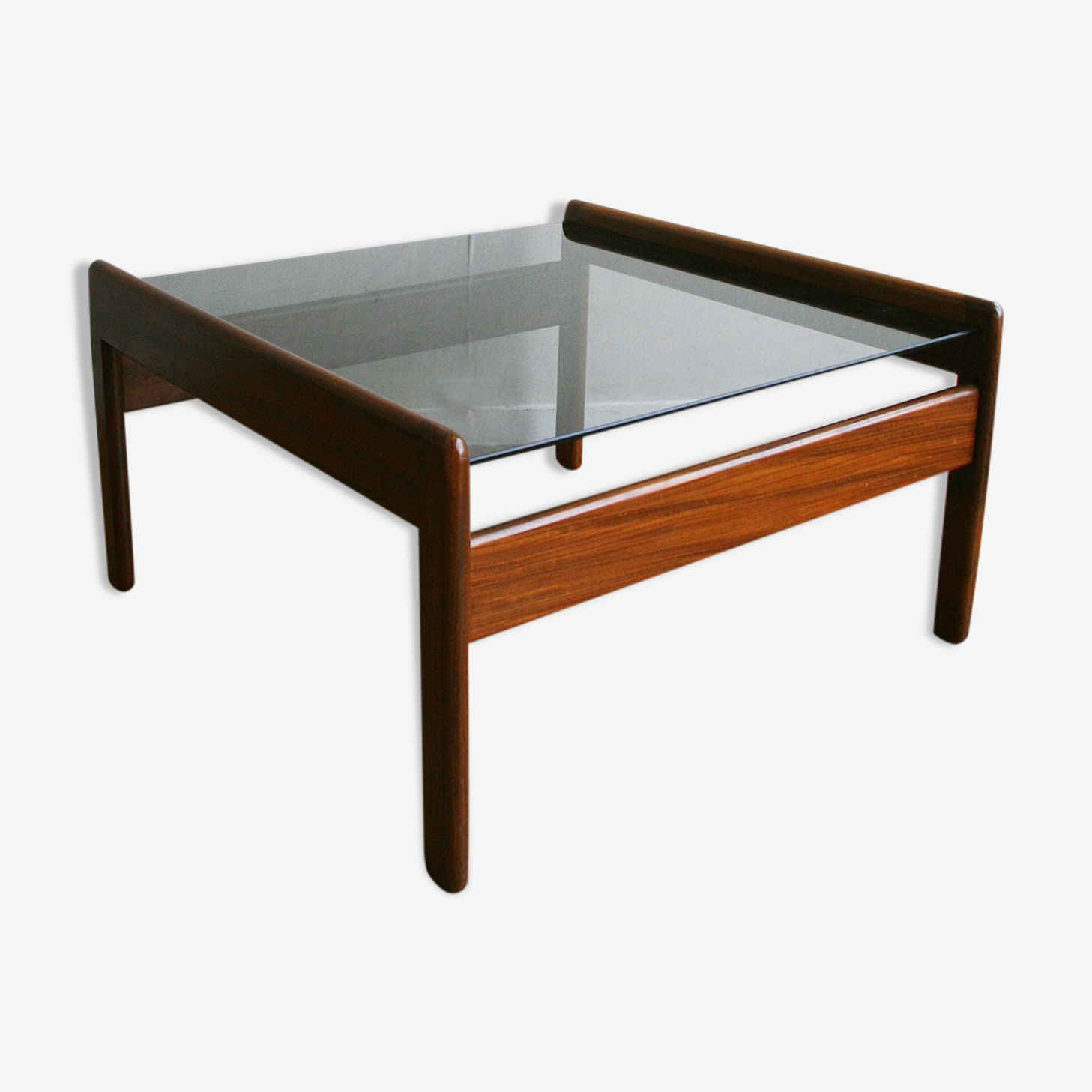 Table basse teck et verre fumé - 1970