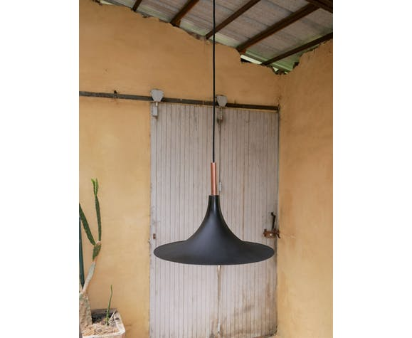 Vintage tulip hanging lamp in black metal and copper