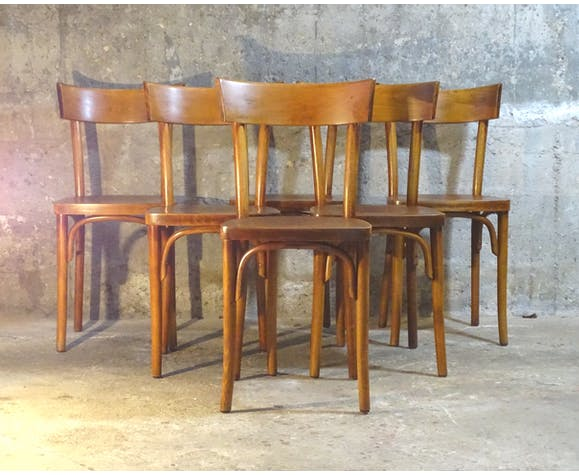 Série de 6 chaises Thonet 1960 bistrot