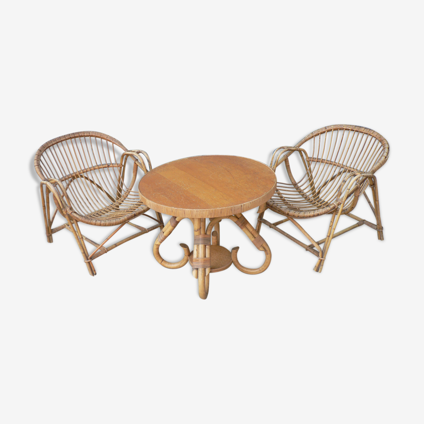 Pair of armchair and coffee table rattan 1960