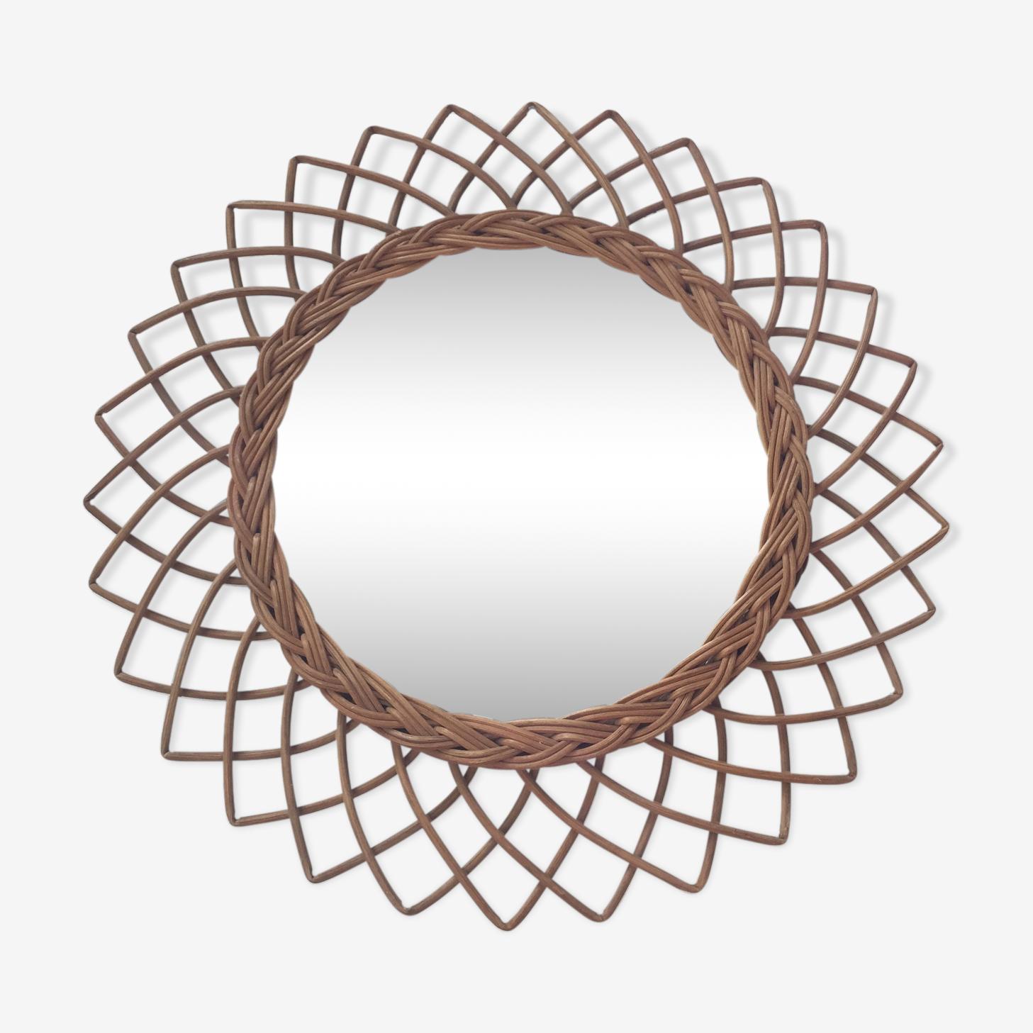Miroir rotin vintage rosace 50x50cm
