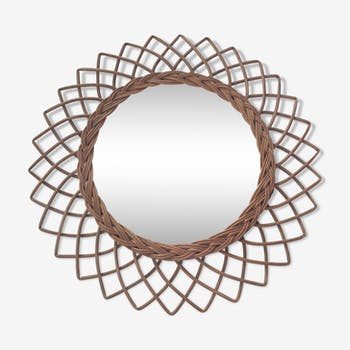 Vintage rattan mirror rose 50x50cm