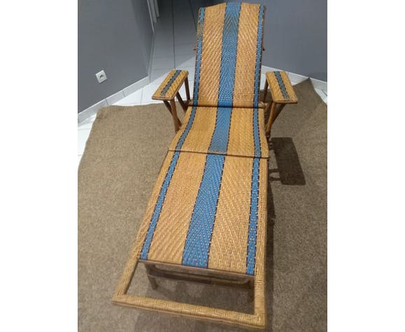 Old rattan and bamboo lounge chair in 1920