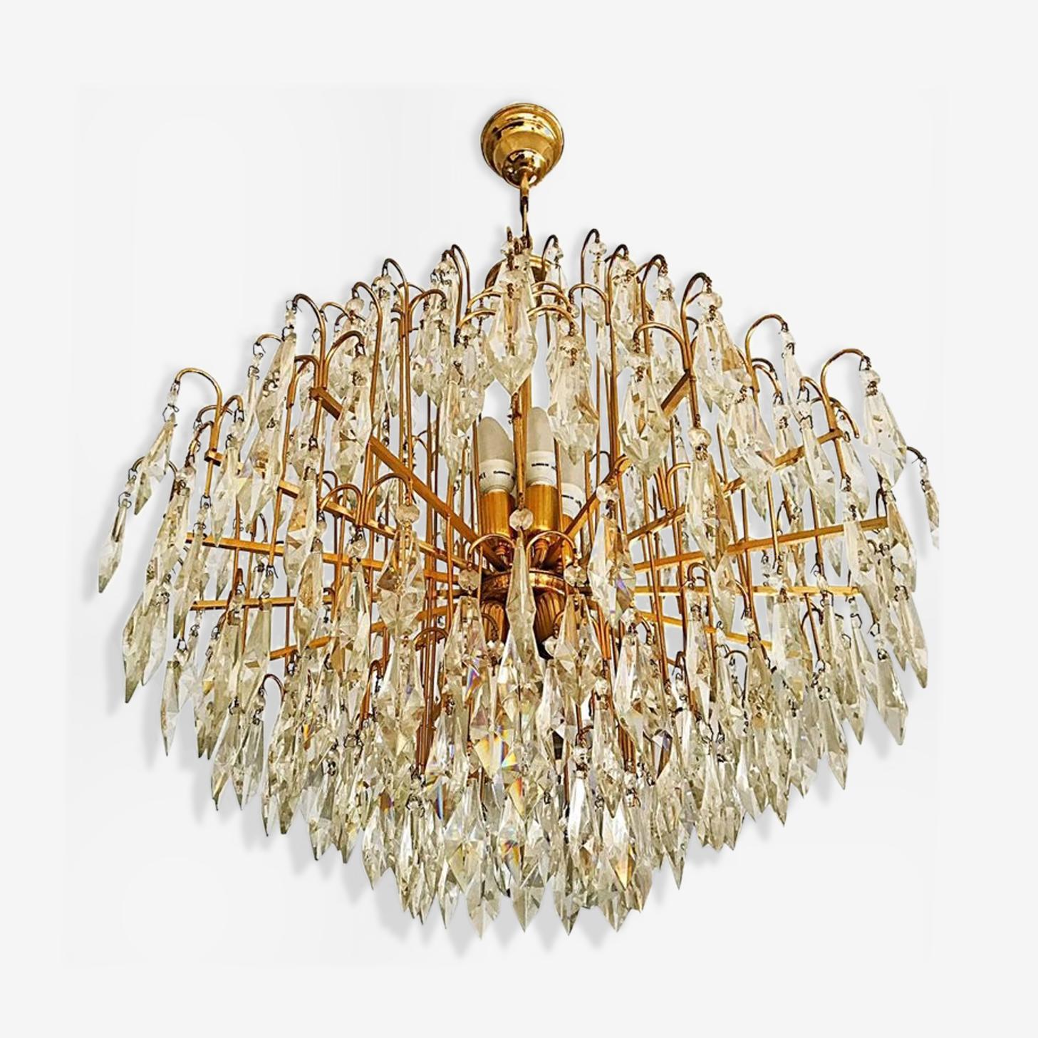 Lustre en cristal de Murano Italie cadre en laiton plaqué or 1970