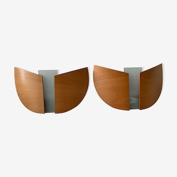 Pair of wooden sconces Lucid 1980