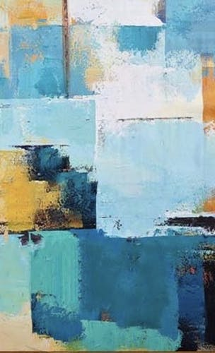 Blue and yellow patchwork inspired oil paint