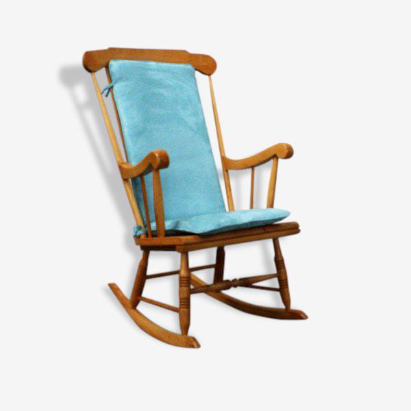 Rocking chair / fauteuil à bascule vintage entièrement rénové (bois, tissu, garniture).