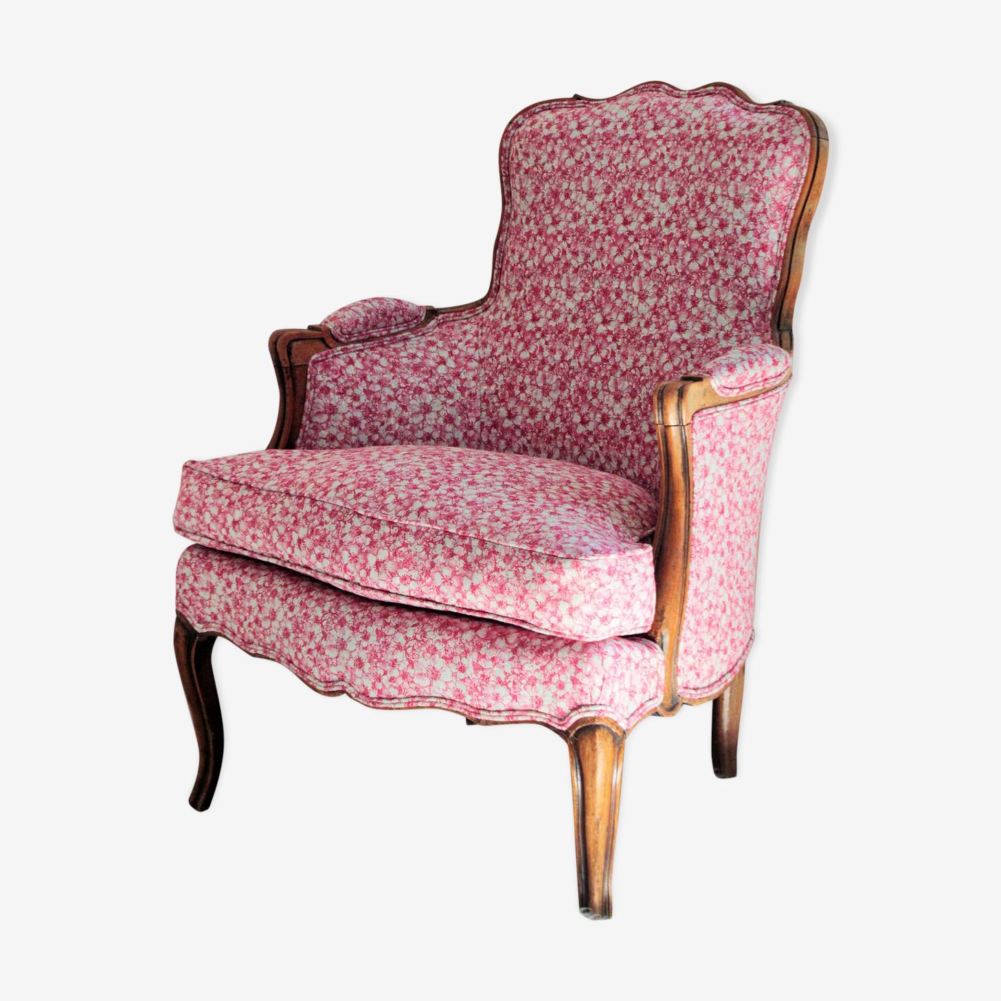 Bergère Louis XV habillée de lin fleuri