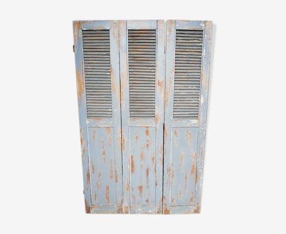 Lot 3 shutters door door carved painted patinated