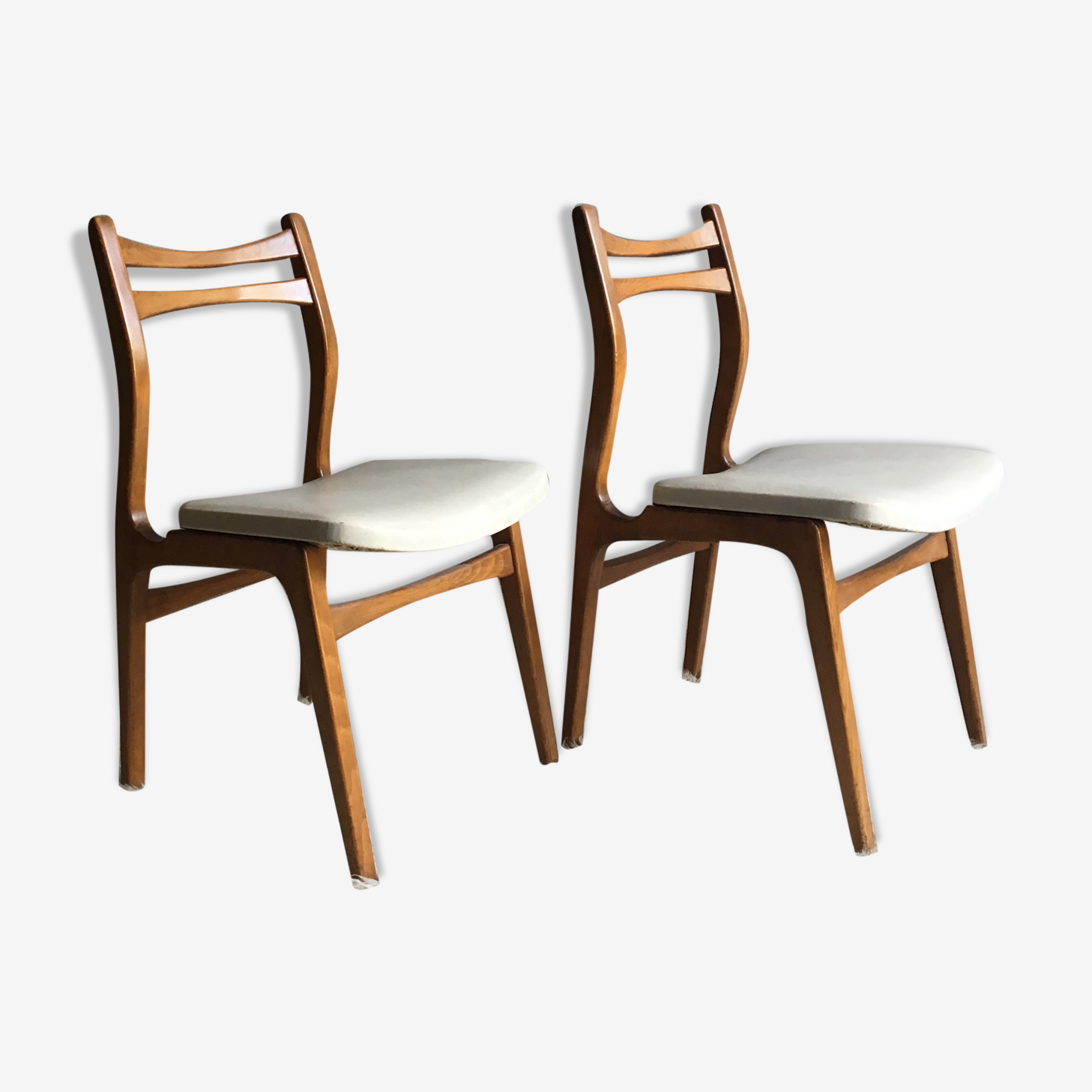 Chaises vintage style scandinaves  blanches