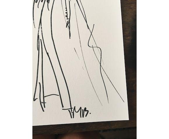 Illustration de mode de presse, collection automne - hiver 1988/1989 Christian Dior