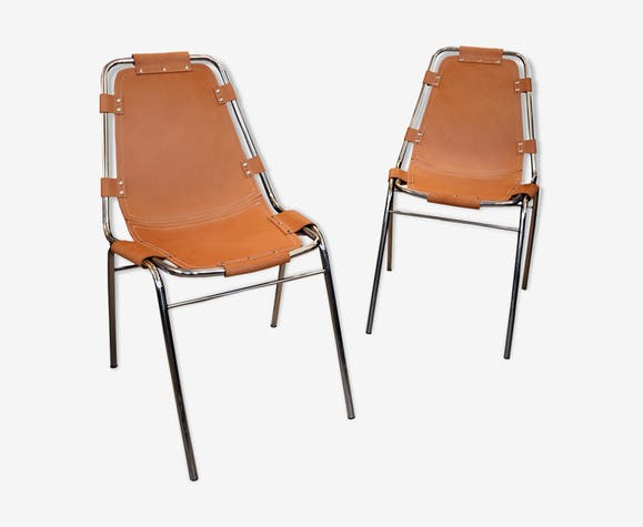 """Pair of chairs for """"Les Arcs"""" made in France 1970"""