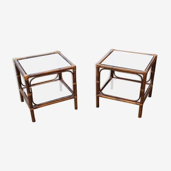 Paire de 2 tables basses en rotin et bambou 1985