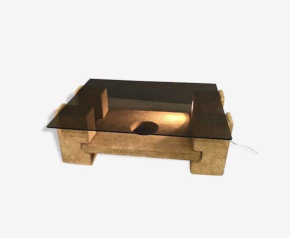 Table basse en travertin et verre fumé 1960 Roche Bobois - pierre et ...