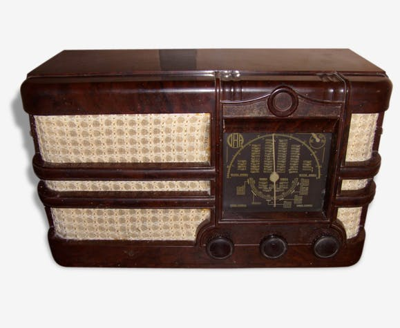 poste radio en bak lite o r a ann es 1930 bak lite marron art d co 45792. Black Bedroom Furniture Sets. Home Design Ideas