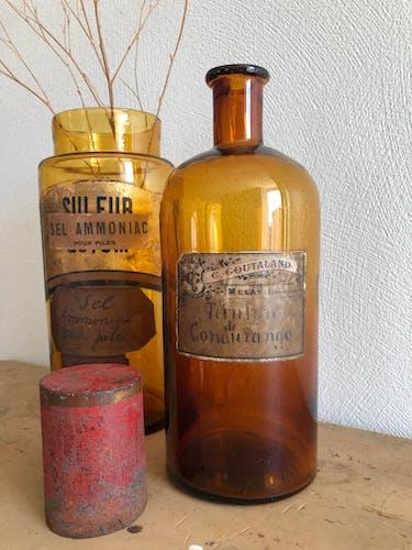 """Ancien flacon de pharmacie """"teinture de condurango"""" verre brun"""