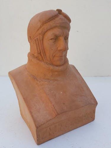 Buste Charles Nungesser terre cuite gaston petit