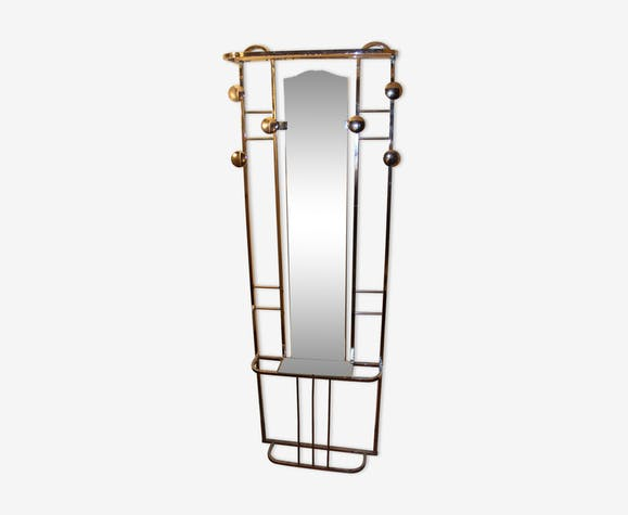 porte manteau art d co en aluminium avec miroir m tal argent couleur vintage rektprj. Black Bedroom Furniture Sets. Home Design Ideas