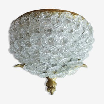 Applique fleurs de verre et laiton
