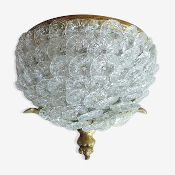 Glass and brass flowers wall lamp