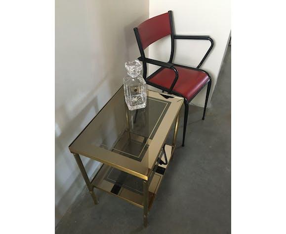Table d'appoint laiton brossé et verre fumé