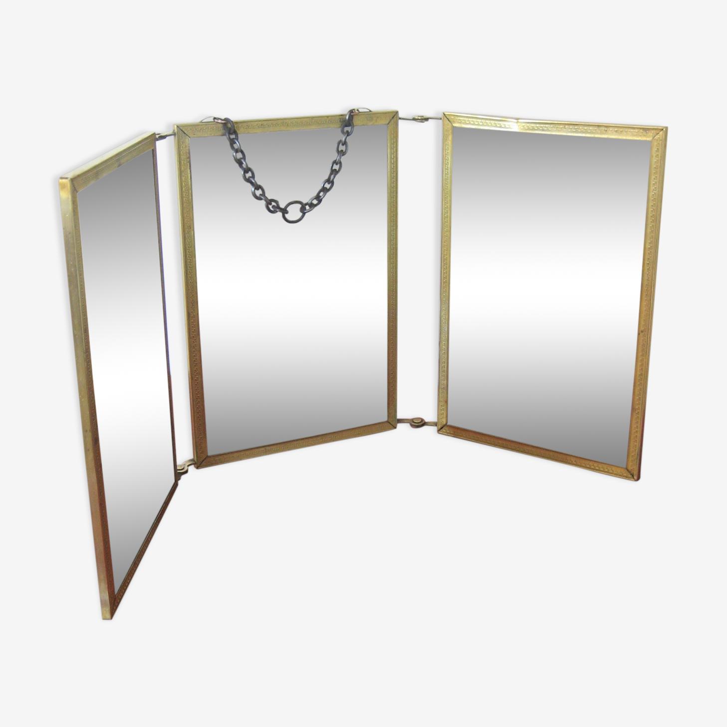 Miroir triptyque laiton