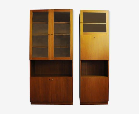 Bibliothèque et armoire en teck