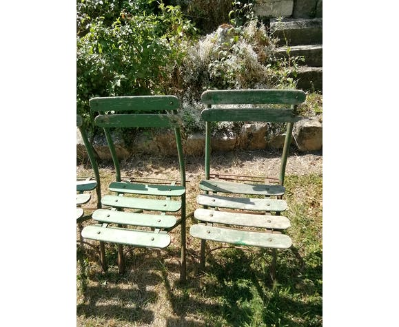 4 chaises pliantes de jardin anciennes en fer et bois
