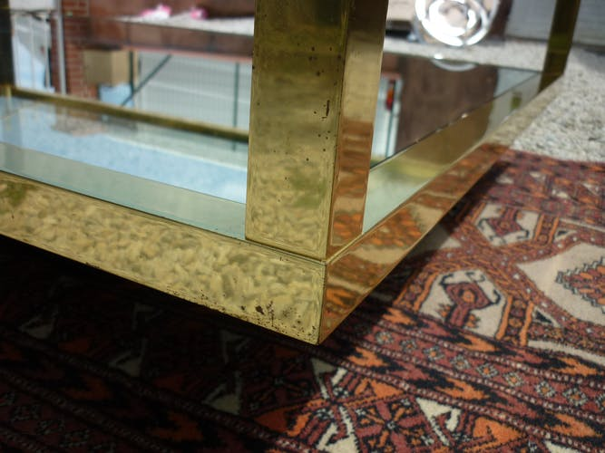 Brass glass and mirror coffee table 1960/1970