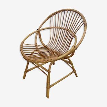 """Wicker """"shell"""" chair, 70s"""