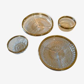 Plats et ramequins en verre ciselé et métal argenté