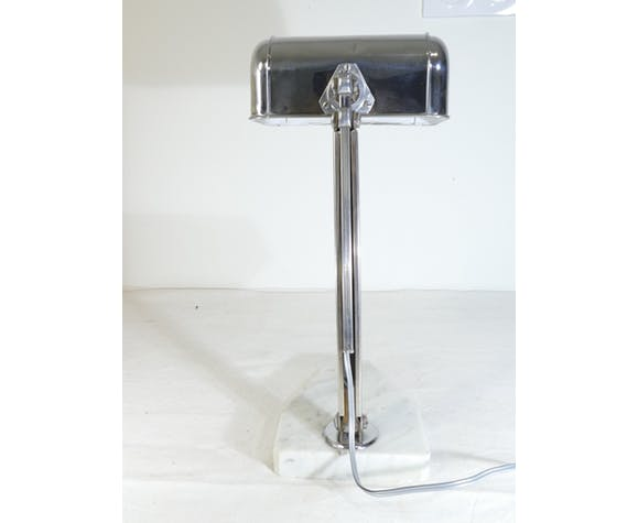 Lampe de bureau art deco en metal chromé