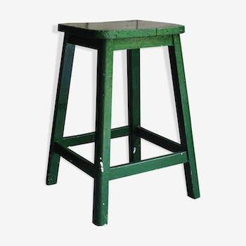 Tabouret rustique bois peinture verte