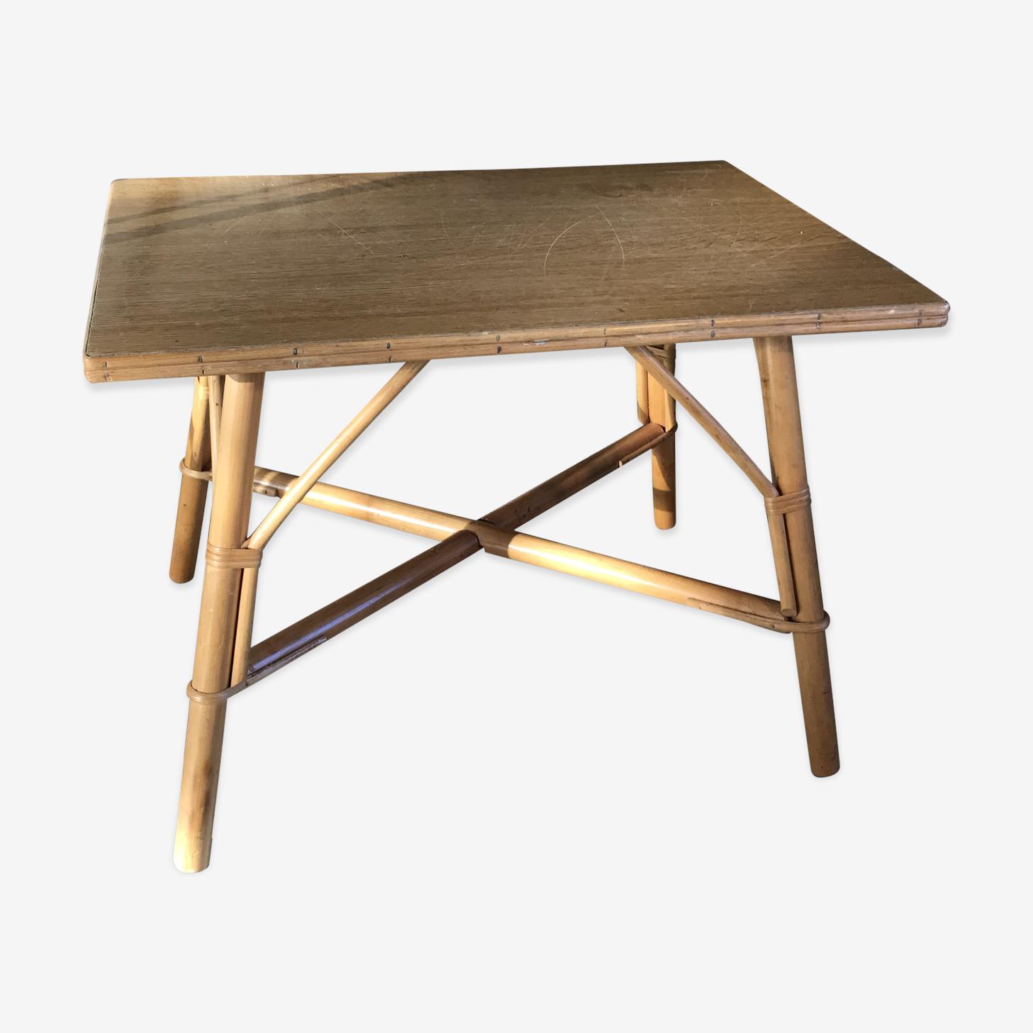 Table basse rectangulaire en rotin vintage