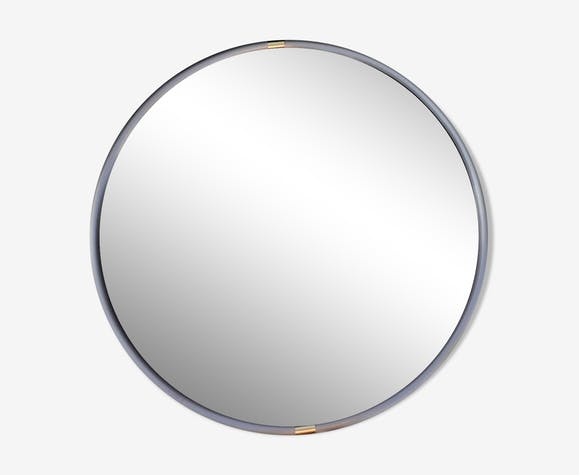 Miroir rond en métal années 70 - 60x60 cm
