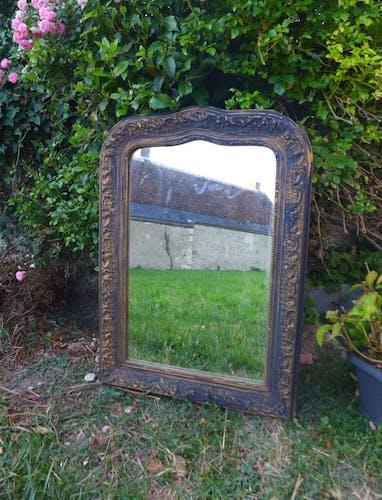 Miroir ancien noir et or