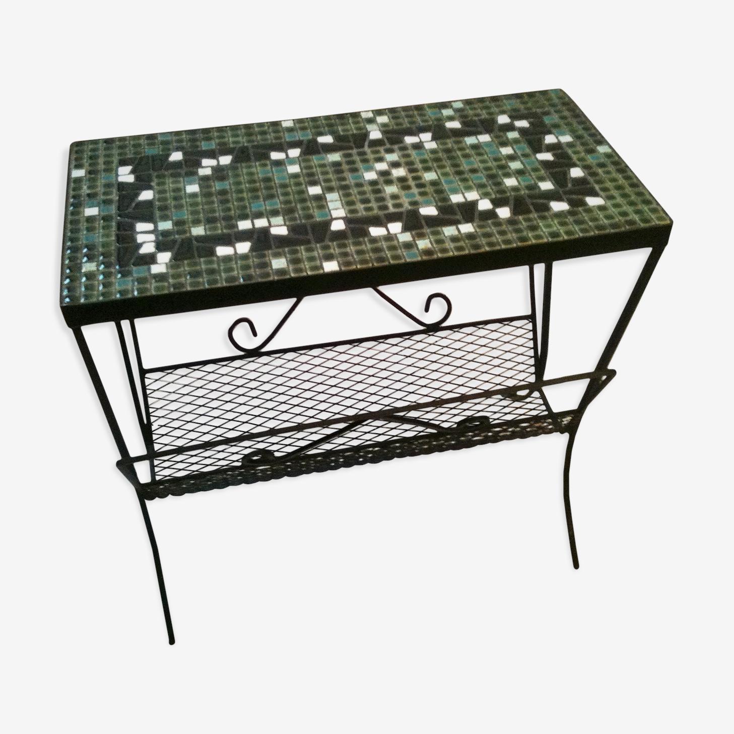 Table mosaïque et fer forgé seventies et porte revues