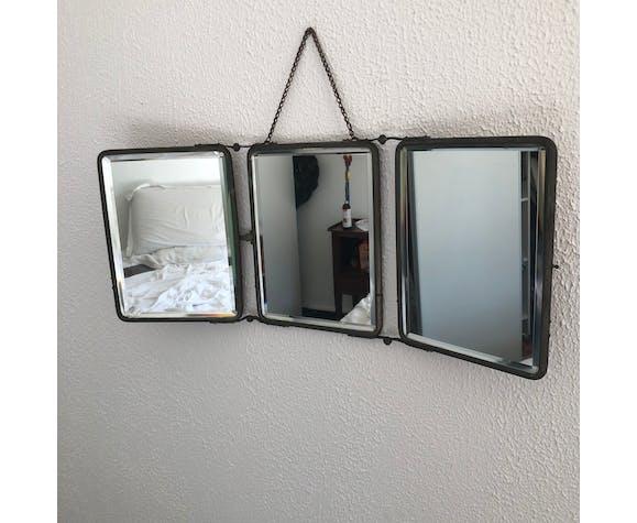 Miroir triptyque barbier rouille vintage 1930 - 25 x 60 cm