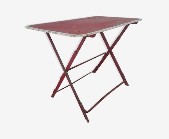 Table de jardin pliante - métal - rouge - vintage - PSFA2T18