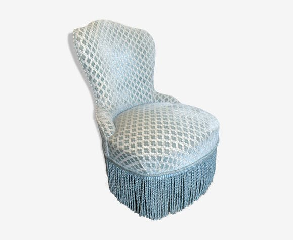 Pastel blue velvet toad chair