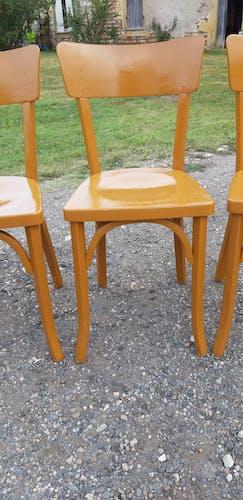 4 chaises de bistrot bois années 60