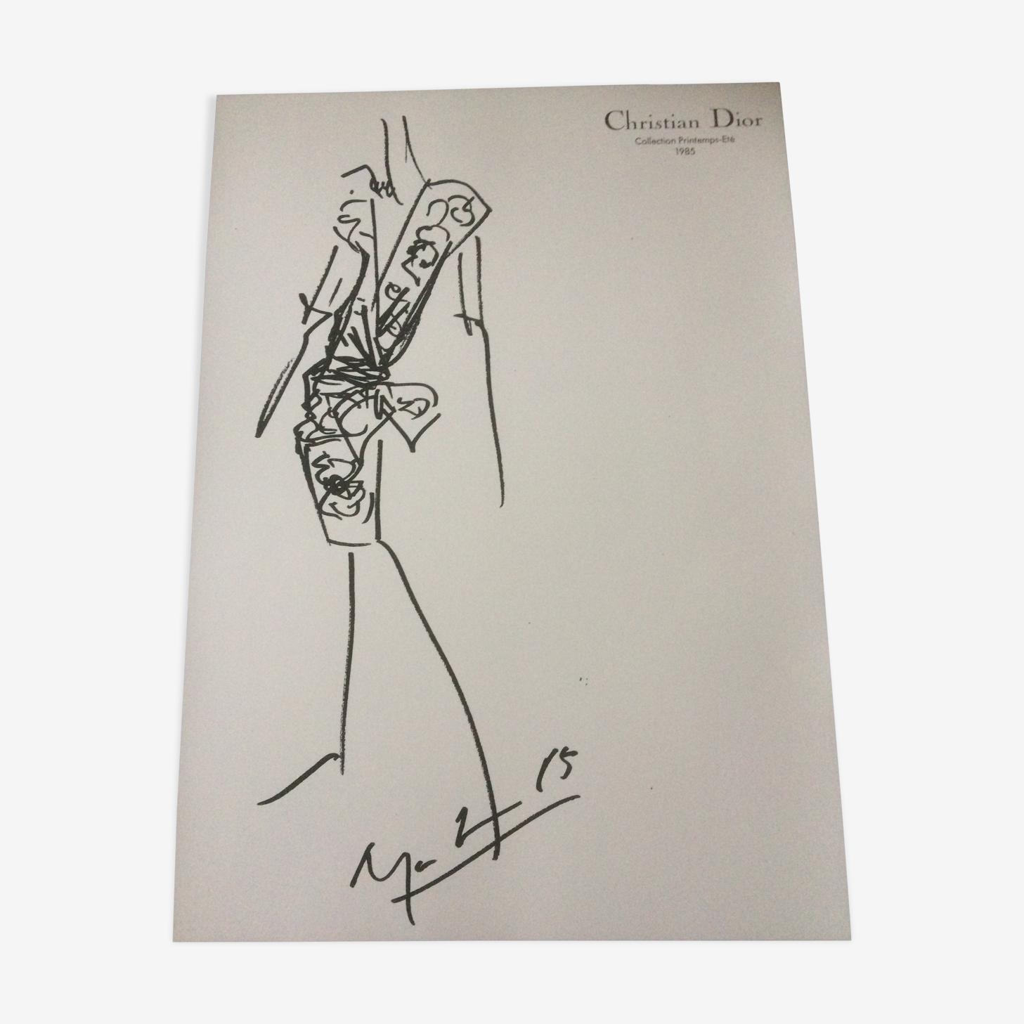 Croquis de mode vintage de presse en noir et blanc Christian Dior,