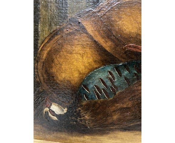 Peinture encadrée aux pêches poires et faisans